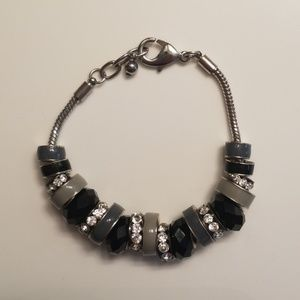 Jewelry - Silver/black/cream and rhinestone bracelet